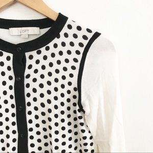 ** Loft ** white with black polka dot cardigan